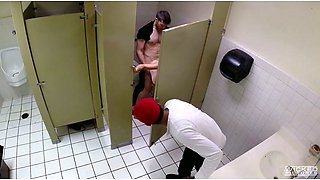 Thirsting guy doggy fucks slutty dark haired MILF in public toilet hard