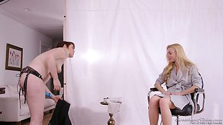 Stunning hottie Lily Cade gives an interview after passionate lesbian scene