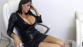 big tits latex dress