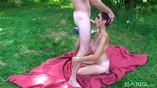 Anally toy fucking girl pounded from behind by his big cock