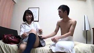 Sweet Asian schoolgirl with perky boobs enjoys a hard dick