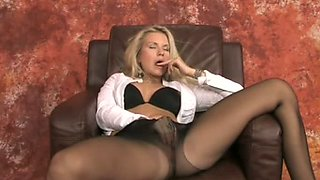 Dirty-minded white blonde MILF in pantyhose stripteased on webcam