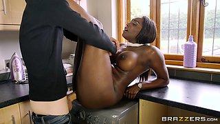 Horny black babe Jai James caught masturbating by a guy