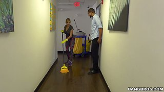 Bosomy blonde Jazmyn does cleaning and gets banged by her employer