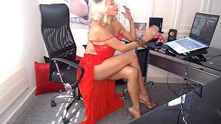 Secretary with amazing hair, body, legs, feet &amp sandals.(2)