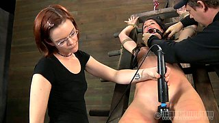 Titless chick is belted and punished with vibrator