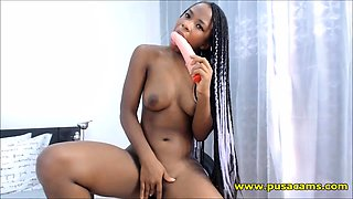 Black Babe With Small Pussy Fucking Big White Dildo