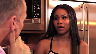 Young ebony Jenna Foxx stretched passionately by employer