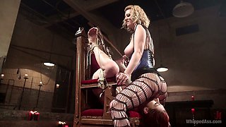 Kinky mistress in corset and stockings punishes twat of red haired hooker Violet Monroe