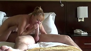 Amazing bootyful blond haired nympho provides buddy with blowjob