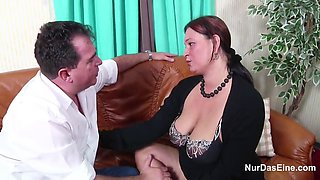 German mom with monster tits in the casting and dad for money