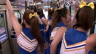 Japanese Cheer Girls In The Bus