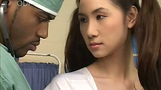 Black horny doctor eats and fingers sweet Asian pussy