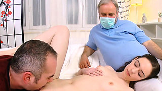 Doc gazes hymen examination and virgin sweetie fucking64mLH