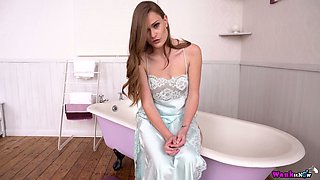 Slender British babe in sexy silk robe Honour May is going to take a bath