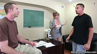 Horny school principal Darla Crane sucks the student's dick deepthroat in the office