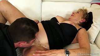 Fat horny granny is getting her bushy cunt licked by thirty young guy
