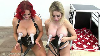 Two girlfriends tie each other up and milk themselves