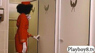 ebony stewardess railed by pervert man in public toilet