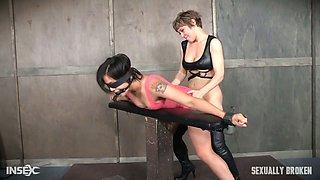 Slut Milcah Halili is punished by misters sand her servant