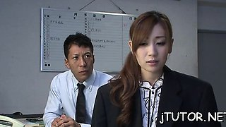 Seductive chick gets her hairy pussy drilled deep by teacher