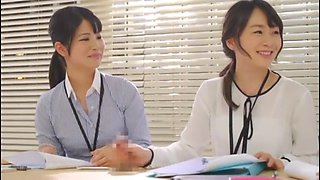 Cfnm japanese babes suck cock in office gloryhole