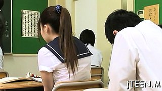 Beautiful schoolgirl shows off large a-hole and gets toyed