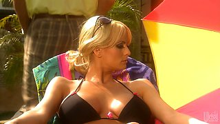 Passionate babe Stormy Daniels blows thick and appetizing dick