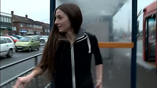 Kinky amateur long haired pretty girlie pisses right on the bus-stop