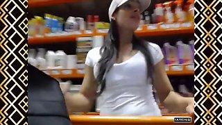 [sluts in public] latina flashing in home depot