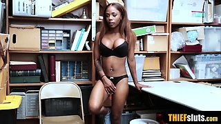 Kinky ebony teen shoplifter punish fucked for freedom