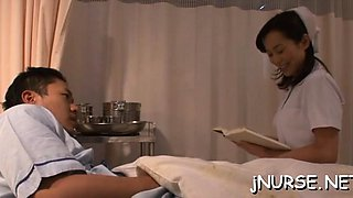Curvy ass oriental nurse severe collision with a huge rod