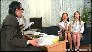 Two sexy college girls seduce their teacher at his office