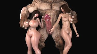 3D Ogres and Monsters Destroy Babes!