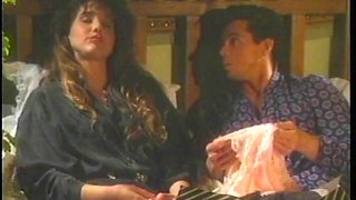 Dark-haired hussy blows and gets banged in retro sex clip