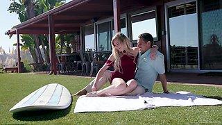 Yoga instructor fucks beautiful blonde Chloe Foster on the lawn