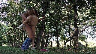 Brunette teen slut Tiffany Doll fucked in the forest hardcore