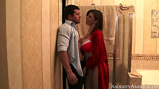 Horny man Preston Parker doggy fucks super busty MILF Sara Jay