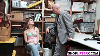 cutie gets punished and father watching
