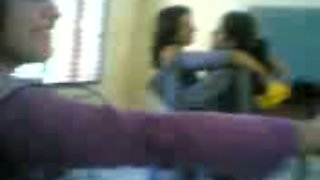 See my cute Pakistani coed chicks kissing right in the college room