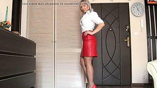 Red skirt pantyhose posing