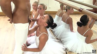 Evelyn and other sexy dancers are curious about a man's cock