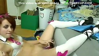 emo honey disrobes and plays with dildo