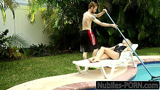 Busty Blonde Fucks Pool Boy With daddy Home