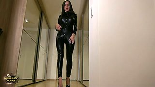 Gorgeous milf in latex overall teases me with her body and feet