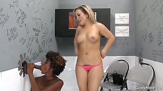Lewd black hottie Daizy Cooper shares glory-hole dick with auburn slut