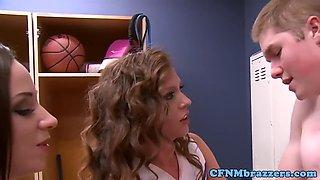 cfnm cheerleaders punish voyeur in lockerroom