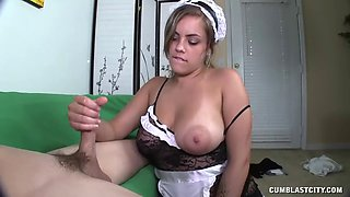 busty girl covered in sperm