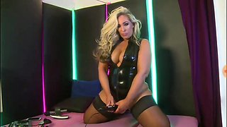 Kellie O Brien in latex pvc stockings and vibrator