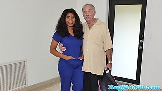 Ebony Babe fucks two geriatric